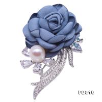 Fine Fabric Blue Rose-shaped 9mm White Freshwater Pearl Brooch FB816