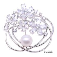 Delicate Zircon-inlaid 9.5mm Freshwater Pearl Brooch FB823