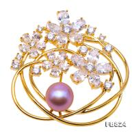 Delicate Zircon-inlaid 9.5mm Freshwater Pearl Brooch FB824