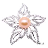 Lustrous 11.5mm Pink Round Edison Pearl Brooch FB825