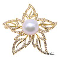 Lustrous 13mm White Round Edison Pearl Brooch FB826