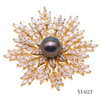 Luxurious 11.5mm Peacock Green Tahitian Pearl Snowflake Brooch TP027