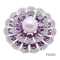 Lustrous Zircon-inlaid 13.5mm White Round Pearl Brooch FB828