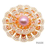 Lustrous 12mm Lavender Round Edison Pearl Brooch FB829