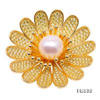 Lustrous Zircon-inlaid 11.5mm White Round Pearl Brooch FB830