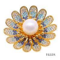 Lustrous Zircon-inlaid 13mm White oval Pearl Brooch FB831