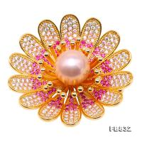 Lustrous 11.5mm Lavender Round Edison Pearl Brooch FB832