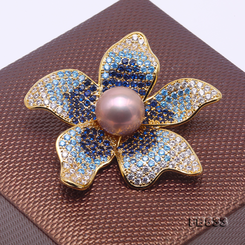 Lustrous 11.5mm Lavender Round Edison Pearl Brooch big Image 4