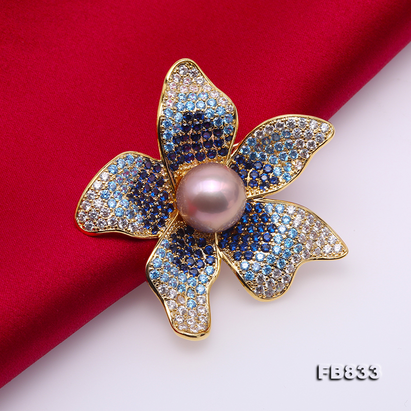 Lustrous 11.5mm Lavender Round Edison Pearl Brooch big Image 5