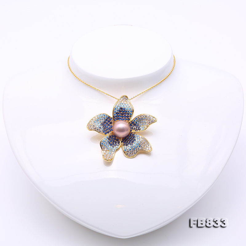 Lustrous 11.5mm Lavender Round Edison Pearl Brooch big Image 6