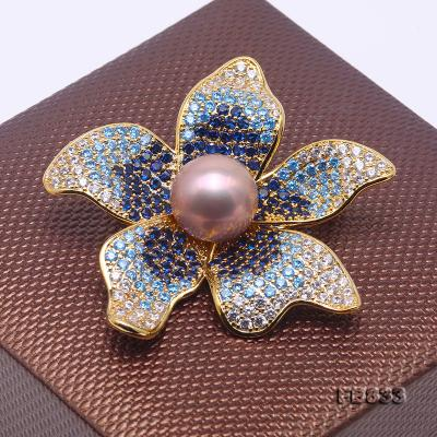 Lustrous 11.5mm Lavender Round Edison Pearl Brooch FB833 Image 4