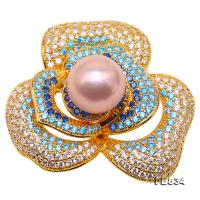Lustrous 12mm Lavender Round Edison Pearl Brooch FB834