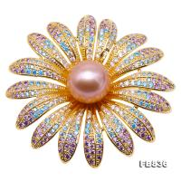 Lustrous 12mm Lavender Round Edison Pearl Brooch FB836