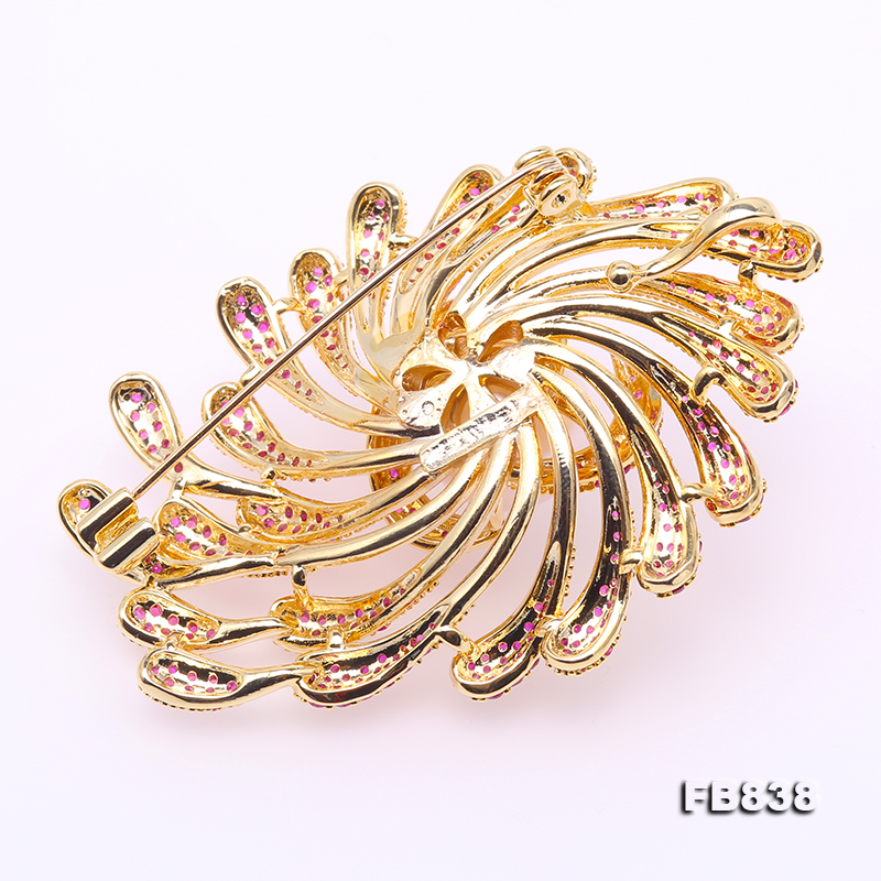 Lustrous 13mm White Round Edison Pearl Brooch big Image 2