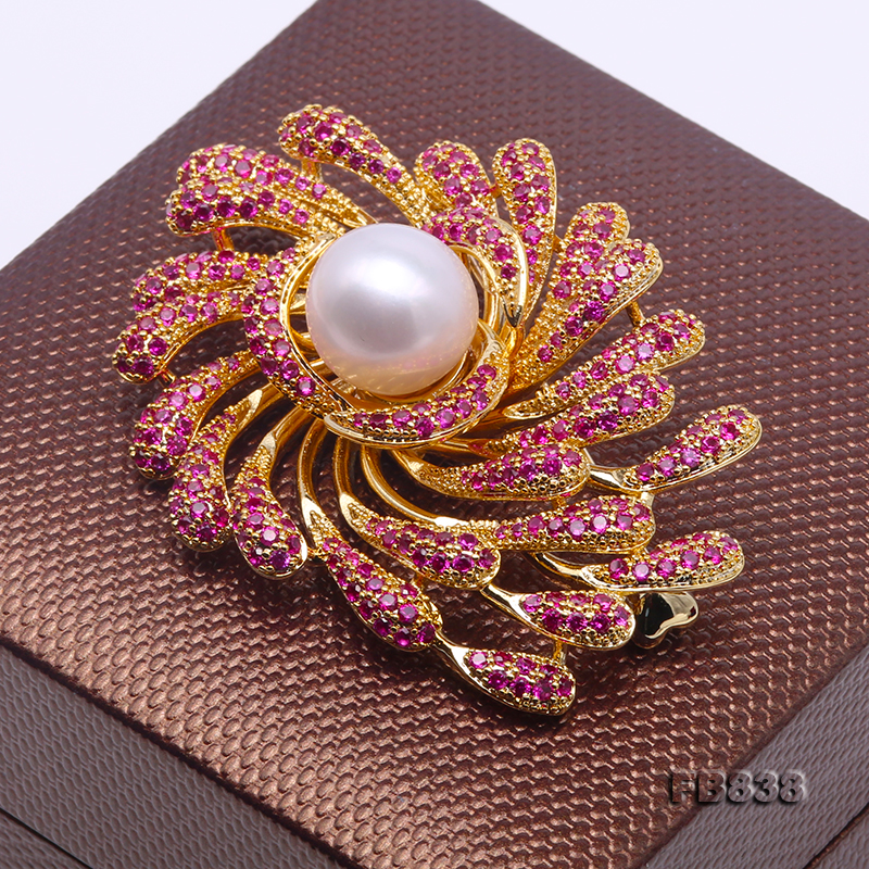 Lustrous 13mm White Round Edison Pearl Brooch big Image 4