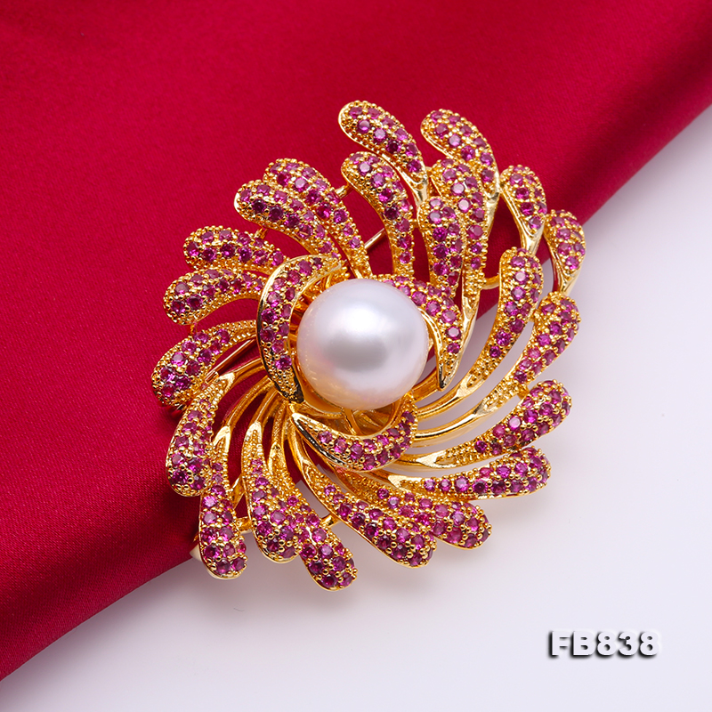 Lustrous 13mm White Round Edison Pearl Brooch big Image 5