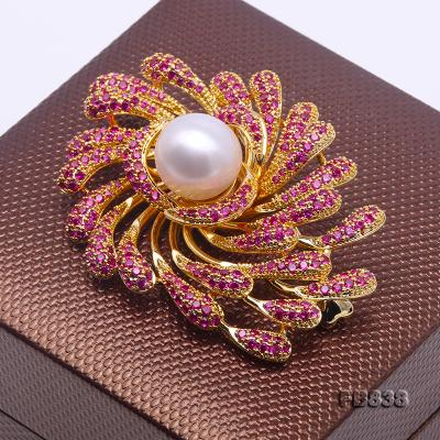 Lustrous 13mm White Round Edison Pearl Brooch FB838 Image 4