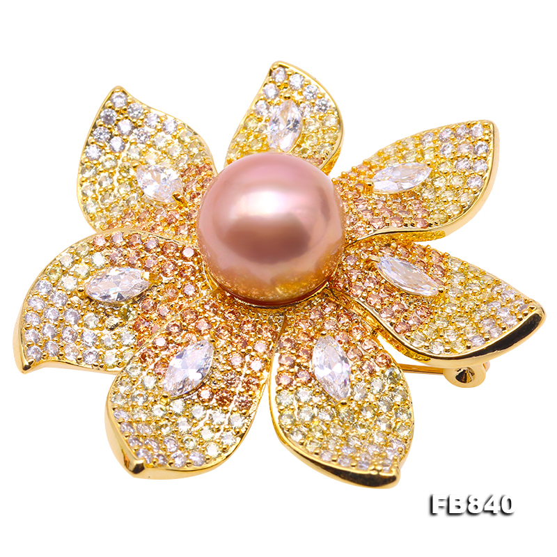 Lustrous 12mm Lavender Round Edison Pearl Brooch big Image 1