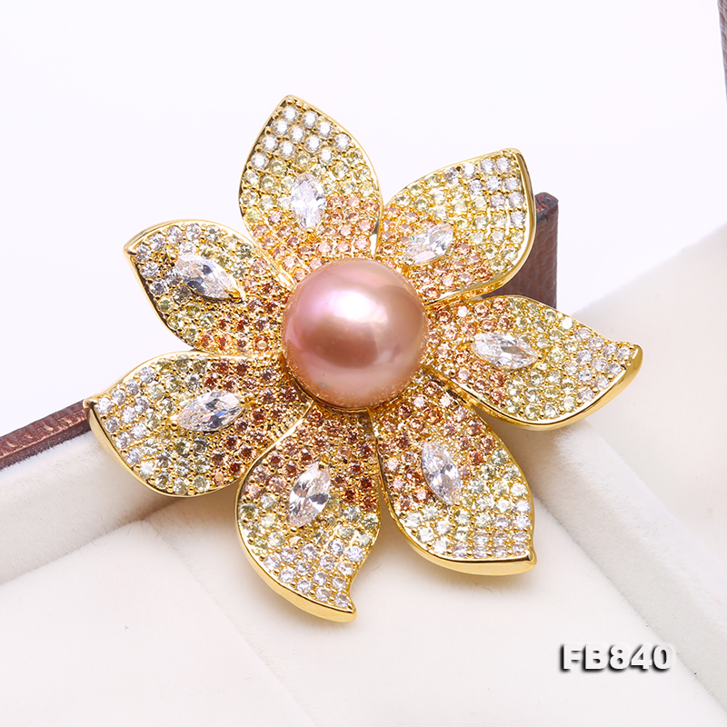 Lustrous 12mm Lavender Round Edison Pearl Brooch big Image 3