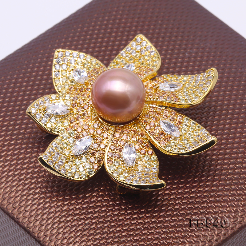 Lustrous 12mm Lavender Round Edison Pearl Brooch big Image 4