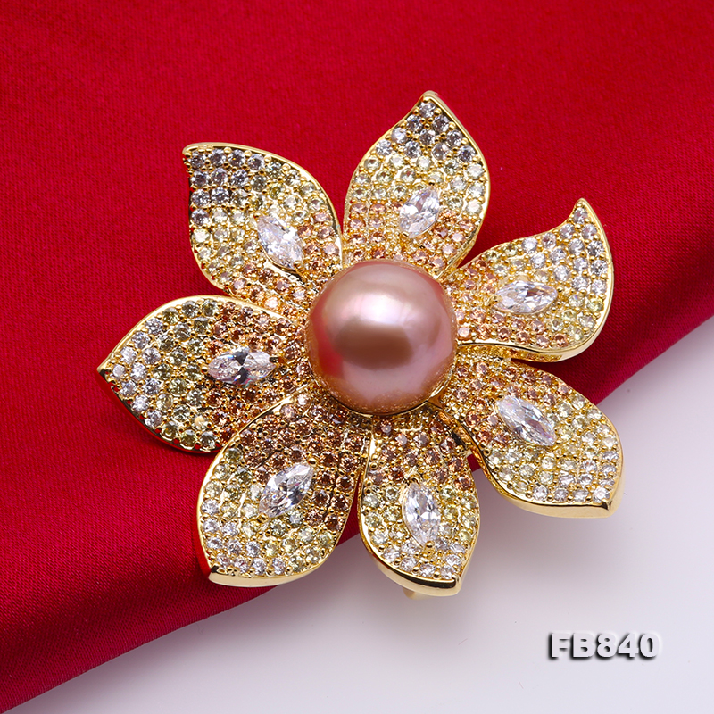 Lustrous 12mm Lavender Round Edison Pearl Brooch big Image 5