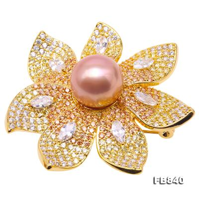 Lustrous 12mm Lavender Round Edison Pearl Brooch FB840 Image 1