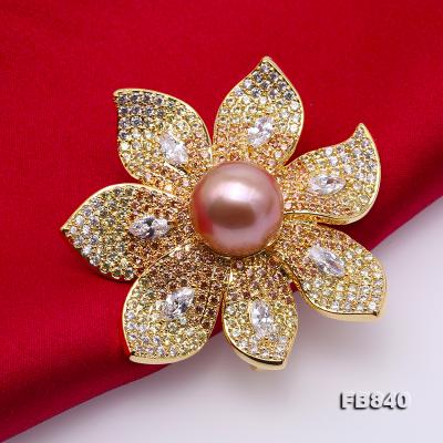 Lustrous 12mm Lavender Round Edison Pearl Brooch FB840 Image 5