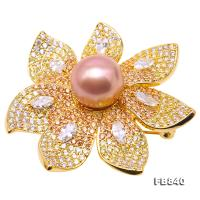Lustrous 12mm Lavender Round Edison Pearl Brooch FB840