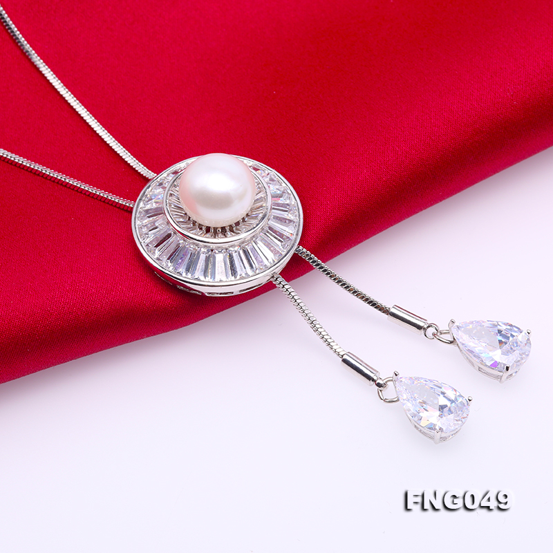 Elegant 11mm White Pearl Chain Necklace big Image 6