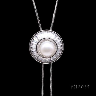 Elegant 11mm White Pearl Chain Necklace FNG049 Image 3