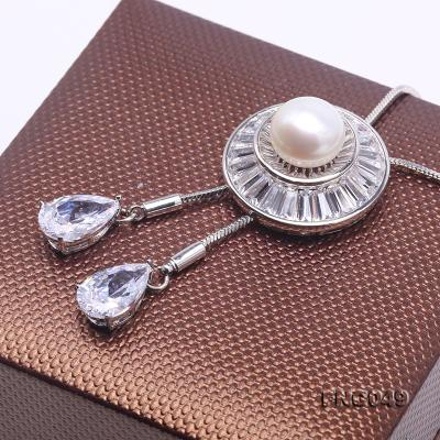 Elegant 11mm White Pearl Chain Necklace FNG049 Image 5