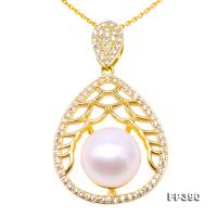 Exquisite Zircon-inlaid 11.5mm White Freshwater Pearl Pendant in Sterling Silver FP390