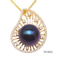 Exquisite Zircon-inlaid 13.5mm Black Freshwater Pearl Pendant in Sterling Silver FP392