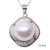 Exquisite Zircon-inlaid 12.5mm White Freshwater Pearl Pendant in Sterling Silver FP393