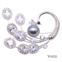 Exquisite Peacock-shape 10.5mm Black Tahitian Pearl Brooch TP028