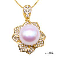 Exquisite Zircon-inlaid 11.5mm White Freshwater Pearl Pendant in Sterling Silver FP399