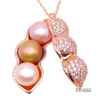 Excellent Peasecod-Design 9mm Multicolor Pearl Pendant in 925 Sterling Silver FP406