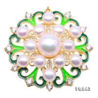 Delicate Zircon-inlaid 6.5-11.5mm White Freshwater Pearl Brooch FB843
