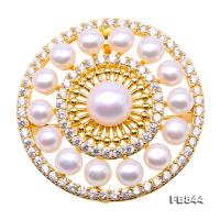 Delicate Zircon-inlaid 5-9mm White Freshwater Pearl Brooch/Pendant FB844