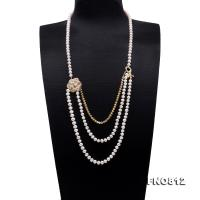Stylish 7-7.5mm White Flatly Round Pearl Long Necklace FNO812