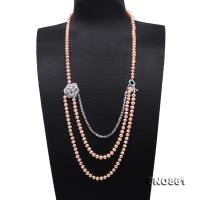 Stylish 7-7.5mm Pink Flatly Round Pearl Long Necklace FNO861