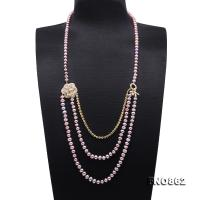 Stylish 6.5-7.5mm Lavender Flatly Round Pearl Long Necklace FNO862