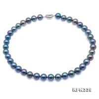 Gorgeous 10.5-11mm Peacock Blue Round Freshwater Pearl Necklace RPN339