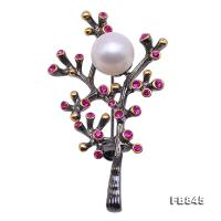Delicate Zircon-inlaid 11.5mm Freshwater Pearl Brooch/Pendant FB845