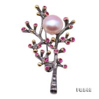 Delicate Zircon-inlaid 12mm Freshwater Pearl Brooch/Pendant FB846