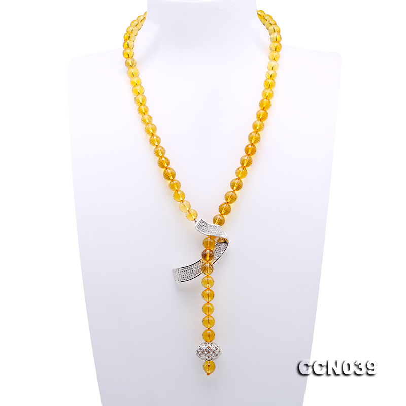 Stylish 10-10.5mm Round Citrine Necklace with Zircon Accessories big Image 1