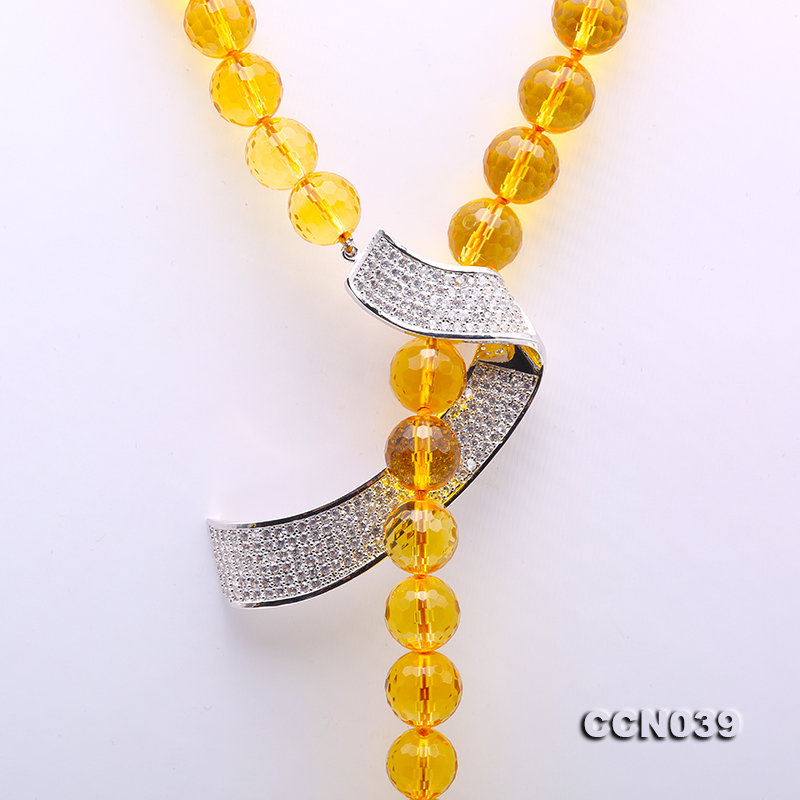 Stylish 10-10.5mm Round Citrine Necklace with Zircon Accessories big Image 2