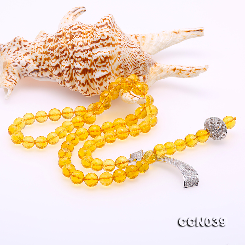 Stylish 10-10.5mm Round Citrine Necklace with Zircon Accessories big Image 3
