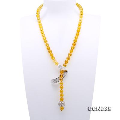 Stylish 10-10.5mm Round Citrine Necklace with Zircon Accessories CCN039 Image 1