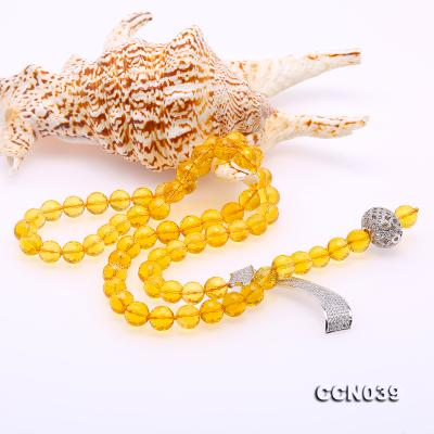 Stylish 10-10.5mm Round Citrine Necklace with Zircon Accessories CCN039 Image 3